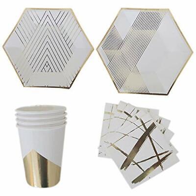 Polka Dot Sky Weiß & Gold Folie Geburtstagsfeier Geschirr Packung Papier Teller ()