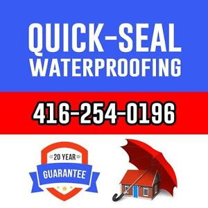 Flooded basement? Cracked Concrete? QUICK-SEAL WATERPROOFING