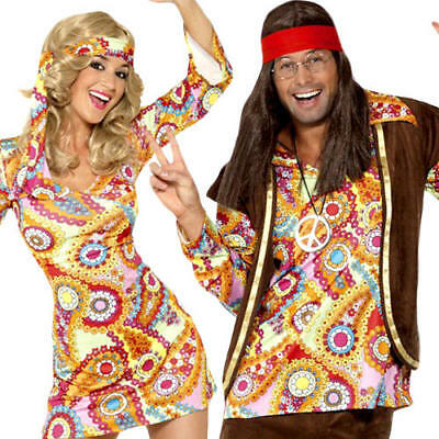 60s Hippy Adults Fancy Dress Hippie 1970s Groovy Peace Funky Costume Outfit New](60s Outfits For Men)