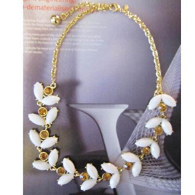 Urban Anthropologie White Reamer Weave Copper Rhinestone Necklace