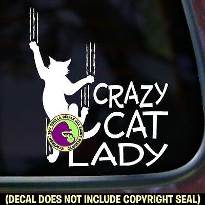 CRAZY CAT LADY Car Feline Love Window Bumper Kitty Sign Vinyl Decal Sticker