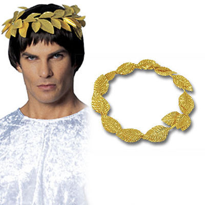 Deluxe Gold Leaf Roman Greek Goddess Laurel Wreath Toga Fancy Dress Costume