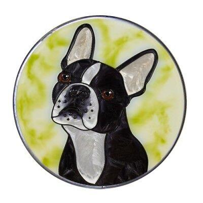 Terrier Suncatcher (Boston Terrier Dog Lover Suncatcher Gift Hand Painted Art Glass Window Decor 10