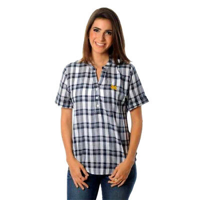 - WEST VIRGINIA MOUNTAINEERS Womens Blouse Size Small Plaid Short Sleeve Top New