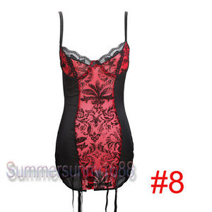 Brocade Overbust Lace up Corset Bustier Top SEXY Lingerie Plus Size S-6XL MH