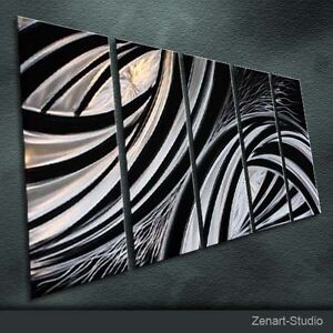 Original Metal Wall Art Abstract Large Black Silver Indoor Outdoor
