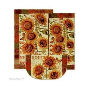 Sunflower Kitchen Rug Set 3 Piece Country Flowers Accent