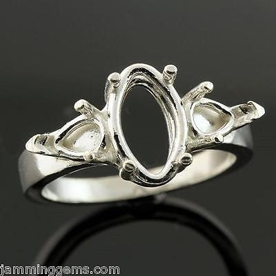 12x6mm Marquise w/ (2) 6x4mm Pear Accents Sterling Ring Setting (Ring Size 7 - 4mm Marquise Ring Setting
