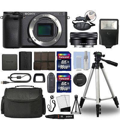 Sony Alpha a6300 Mirrorless Digital Camera with 16-50mm Lens Black + 32GB Bundle