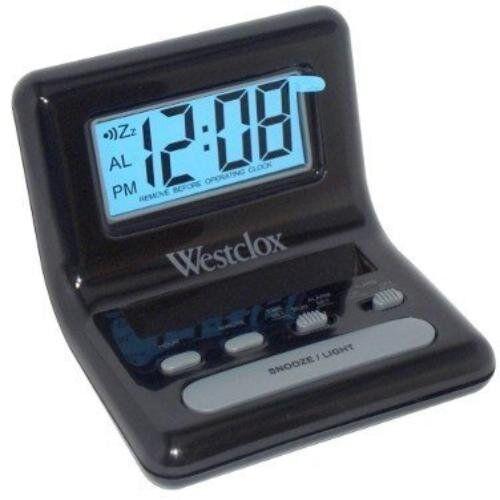 black bedside alarm clock