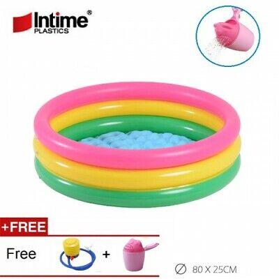 Mini Inflatable 3 Ring Swimming Pool Durable & Comfortable Pool 83L Water