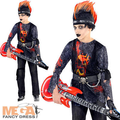 Rock Zombie Boys Fancy Dress Halloween Scary Music Kids Childrens Childs Costume