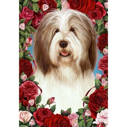 Roses House Flag - Fawn and White Bearded Collie 19483