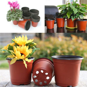 10X Small Plastic Round Flower Pot Terracotta Nursery Planter Home Garden Decor