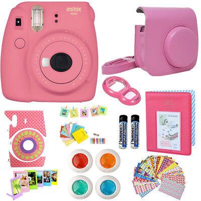 Fujifilm Instax Mini 9 Instant Camera  Flamingo Pink + Case + More Acc Bundle