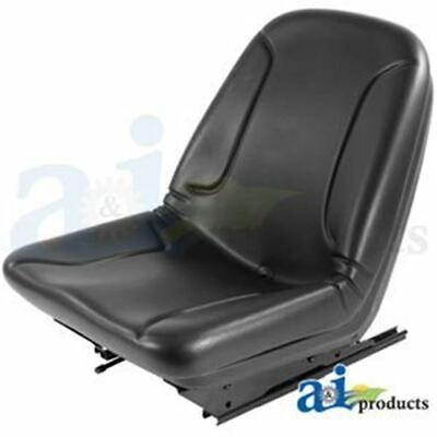 87019259 Ford Black Vinyl W Slide Tracks Seat Fits Skid Steer Loaders