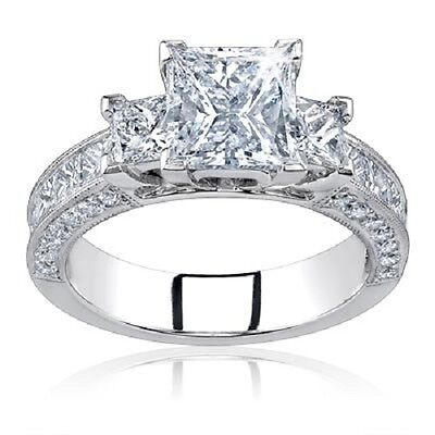 2.20 Ct Three Stone Princess Cut Diamond Engagement Ring 14K D VS1 GIA Certified 1