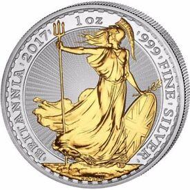 2016 Britannia Coin .999 Silver - Gilded Gold