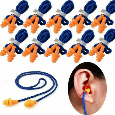 102050pcs Soft Silicone Corded Ear Plugs Reusable Hearing Protection Earplugs