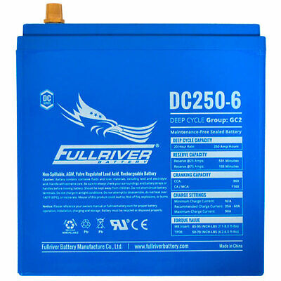 Used, DC250-6 Fullriver Full Force AGM Deep Cycle Batteries 250AH/6V Marine, RV Golf for sale  Shipping to India