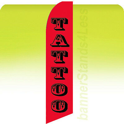 Tattoo - Swooper Feather Flutter Banner Sign 11.5 Tall Flag - Rb