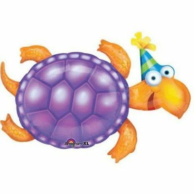 Purple HAPPY BIRTHDAY  TURTLE with Hat Mylar Party Balloon Decoration