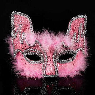 Mardi Gras Masquerade Mask,  Carnival Mardi Gras Cat Ball Mask Pink M7454 - Mardi Gras Cat Mask