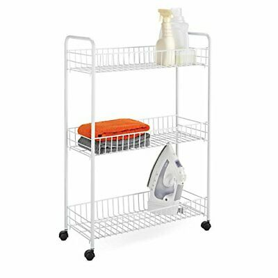 3-Tier Rolling Laundry Cart White Wire Shelf Organizer Basket Shelves Utility Custom Wire Shelving