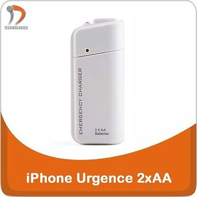 iPhone 5 5S 5C USB Chargeur Oplader Urgence Opluchting 2 x AA Piles Batterijen