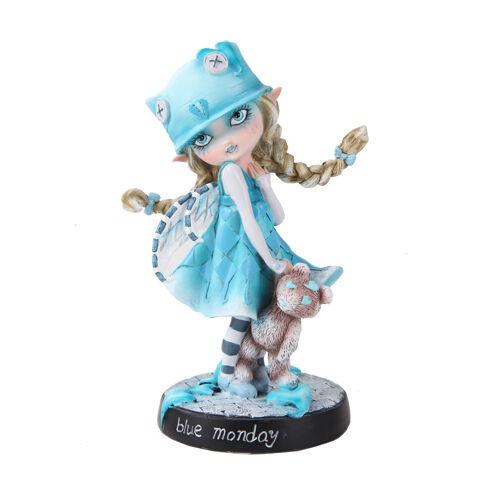 BLUE MONDAY FAIRY Dolly Fae Faery Figurine goth faerie & teddy bear