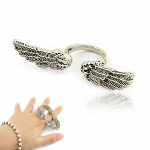 Above Knuckle Ring top of two finger wing heart star cross mask eagle nail claw