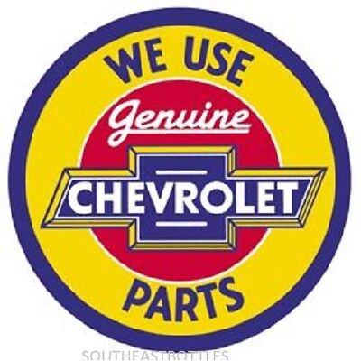 "Chevy Geniune Parts 12"" Round Vintage Style Metal Signs Oil Gas Pump Garage Dad"