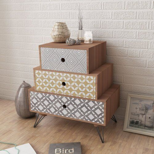 Bed Cabinet Bedside Table Side Cabinet Nightstand Chest With 3 Drawers Brown