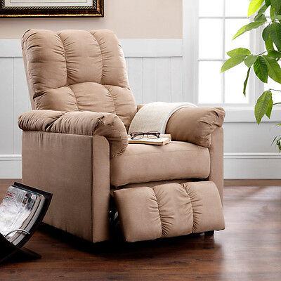 Modern Recliner Chair Beige Microfiber  Reclining Furniture Seat NEW