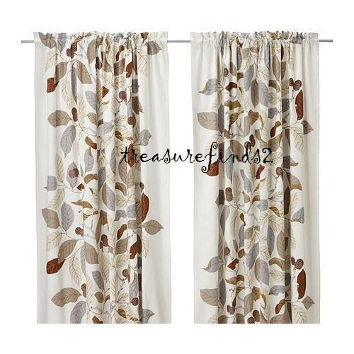IKEA Stockholm Blad Curtains Drapes Green Blue Brown Leaves Linen ...