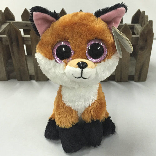 6-Ty-Beanie-Boos-Slick-The-Brown-FOX-Stuffed-Toy-Dolls-Animal-Plush