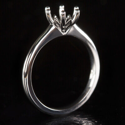 ROUND SEMI-MOUNT 6 PRONG ENGAGEMENT RING  SETTING WHITE GOLD VINTAGE SOLITAIRE 6 Prong Round Ring Setting