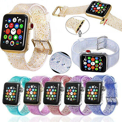 Sport Women Band Straps For Apple Watch Series 5 4 3 2 1 Bling Silicone Glitter  Ladies Black Band