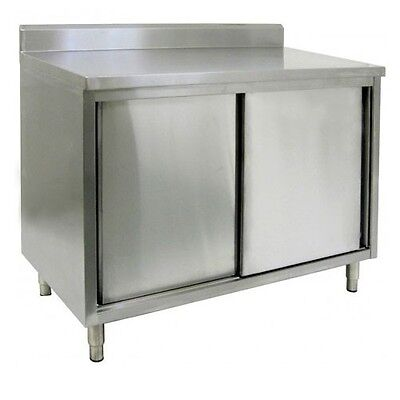 14 X 36 Stainless Steel Storage Dish Cabinet - Sliding Doors W Back Splash