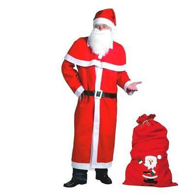 TOP Weihnachtsmann Mantel Kostüm-Set 6-teilig mit großem Filzsack - Große Weihnachts Kostüme