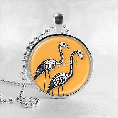 HALLOWEEN SKELETON FLAMINGO Necklace, Flamingo Necklace, Flamingo Jewelry, Glass (Flamingo Skeleton)