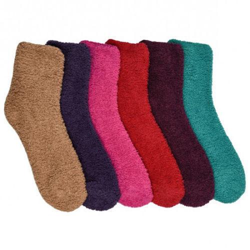 6 Pairs Super Soft Winter Slipper Cozy Fuzzy Soild Slipper P