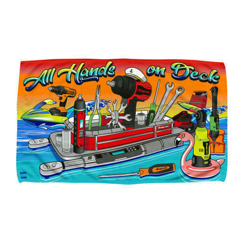 NEW!! Sealed!! Snap-On Tools Beach Towel ALL HANDS ON DECK