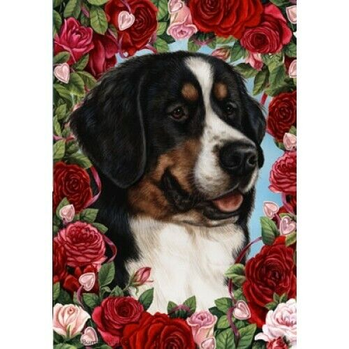 Roses House Flag - Bernese Mountain Dog 19058