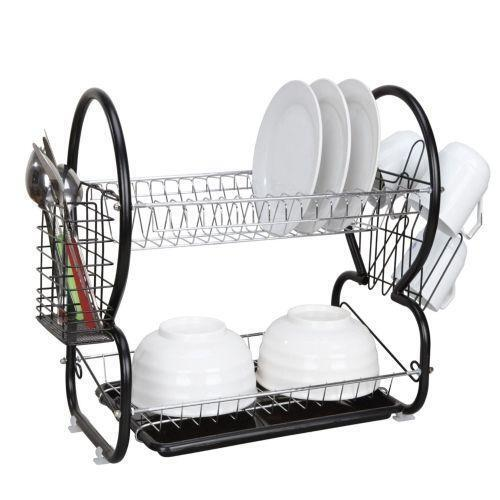 2 tier dish drainer ebay. Black Bedroom Furniture Sets. Home Design Ideas