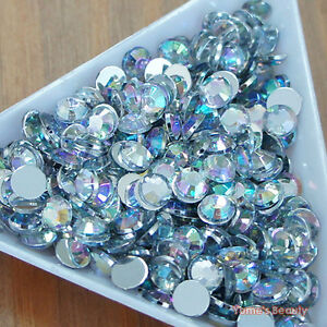 200 Colors 3-10mm Acrylic Clear Crystal Rhinestone Flatback Scrapbook Nail Gems