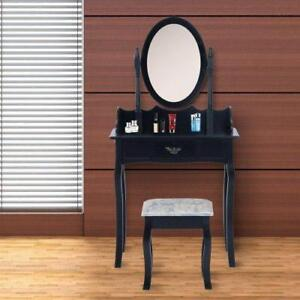 Black VanityTable Set / Table & Wood dresser Stool w/ Mirror