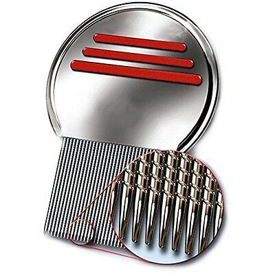New Rid Head Lice Metal Comb Nit Stainless Steel Teeth Terminator Free S&H RED ()