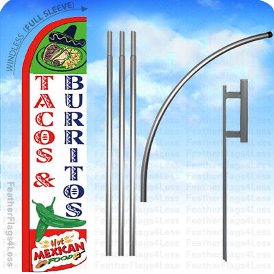Tacos Burritos Hot Mexican Food - Windless Swooper Flag Kit Feather Sign 15 Wz