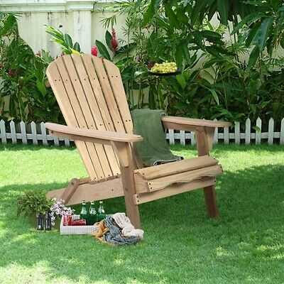 Unfinished Wood Folding Adirondack Chair Outdoor Garden Patio : Chinese Fir  ()